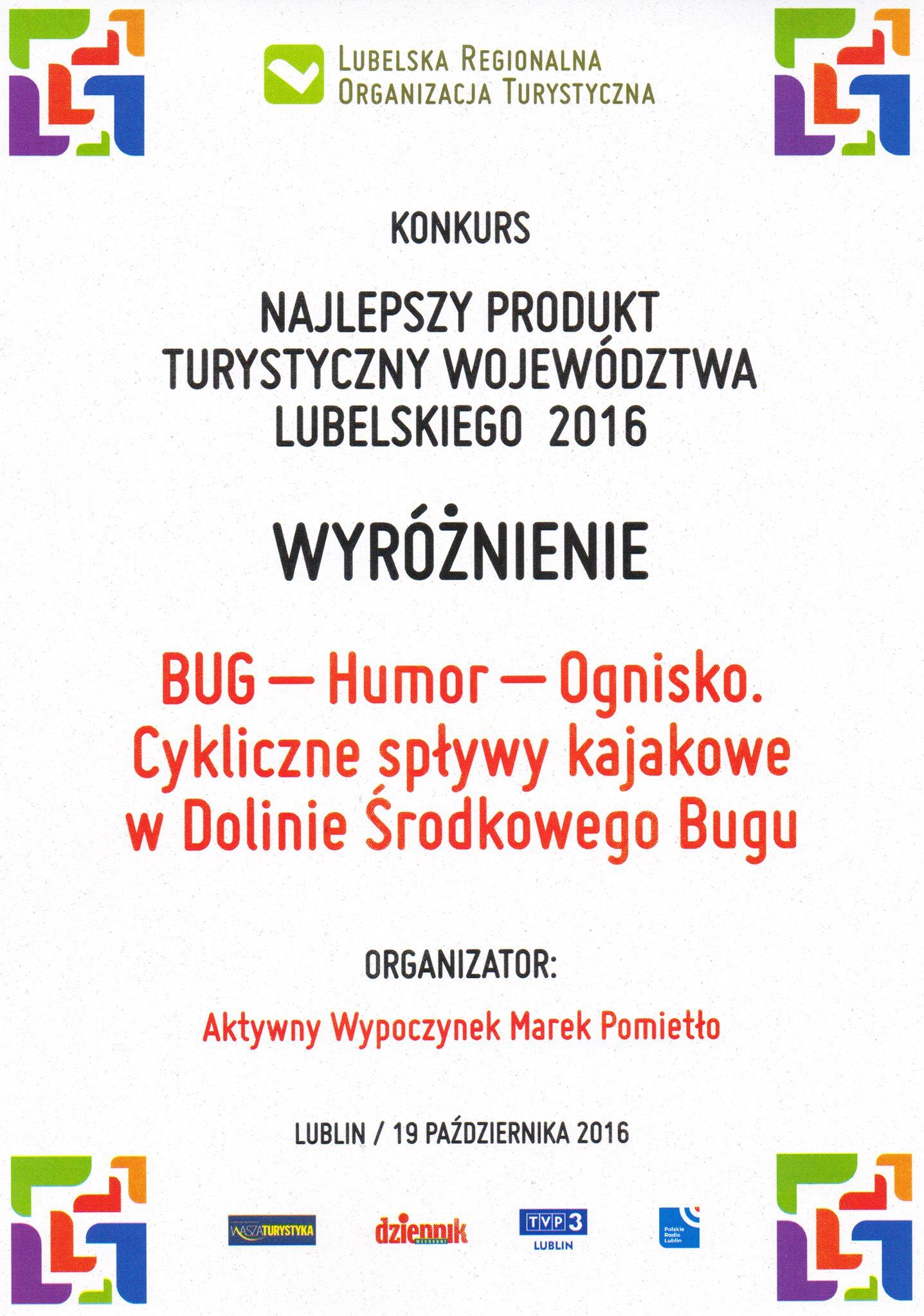 Konkurs na Najlepszy Produkt Województwa Lubelskiego - Cykliczne spływy kajakowe w Dolinie Bugu.
